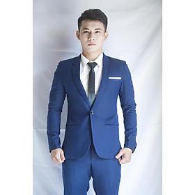 Bộ vest nam màu xanh đen form ôm body chất liệu vải mềm mịn tặng combo phụ kiện