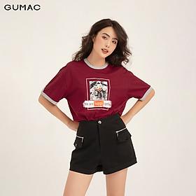 Áo thun nữ phom rộng in phối viền GUMAC đủ màu freesize, thiết kế basic, phong cách năng động trẻ trung ATB123