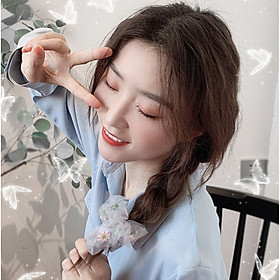 Dây buộc tóc scrunchies hoa cúc Hàn Quốc, chun búi tóc vải hot trend SC02 sẽ dễ dàng biến hóa kiểu tóc cột xinh đẹp