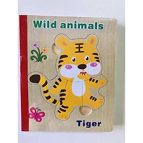Sách gỗ ghép hình - Combo 2 cuốn sách gỗ ghép hình cho bé 1 tuổi Gnu02