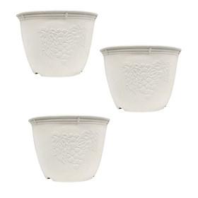 Hình ảnh Bộ 3 chậu cây cảnh trang trí hoa văn đường kính 24cm (màu trắng) - Hàng nội địa Nhật