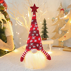 Christmas Decorations Doll with LED Light Decor Christmas Ornaments Plush Doll Holiday Party Home Table Decorations Gift