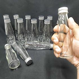 combo 15 chai thủy tinh 100ml mẫu Trụ Cao nắp thiếc vặn màu bạc – lọ nhỏ đựng mật ong, dầu dừa, nước mắm, thức uống, sữa, các loại thực phẩm