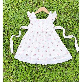 Váy sát nách in hoa diềm vai bé gái 1-10 tuổi