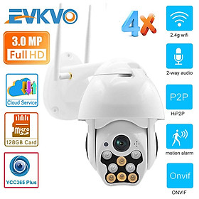 EVKVO - Auto Tracking - FULL COLOR Night Vision - YCC365 PLUS APP Rotate Outdoor Waterproof FHD 3MP Wireless WIFI PTZ IP Camera CCTV Two Way Audio Motion Detection Alarm Home Security Surveillance Camera