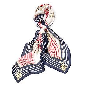 Khăn Choàng Cổ Lụa Họa Tiết Bánh Lái Phối Màu Đỏ Viền Xanh Đen - Silk - 180x90cm - Mã KS044