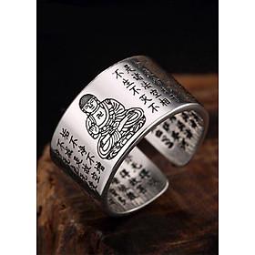Nhẫn Bạc Thái 9999  Bát Nhã Tâm Kinh- Phật A Di Đà  Hộ Mệnh cho Nữ  Mệnh Thổ  MAN1-2