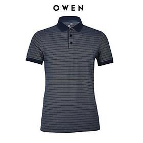 OWEN - Áo polo nam Owen màu xanh sọc ngang 21867- Áo thun ngắn tay có cổ nam
