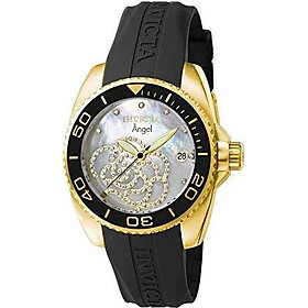 Invicta Women's 0489 Angel Collection Cubic Zirconia-Accented Watch With Black PU Band