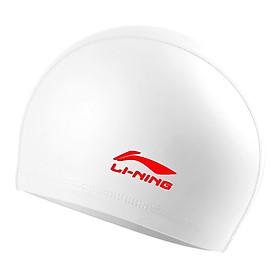 Li Ning LI-NING male and female swimming cap PU coating long hair waterproof swimming cap ear ear comfort do not le head LSJL856 possession of green