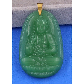 Mặt dây chuyền Phật Bản Mệnh 12 Con Giáp Thạch Anh Xanh móc inox vàng - Mang lại may mắn, bình an