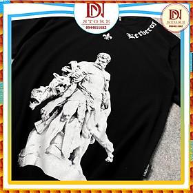 Áo thun tay lỡ in noi Thần Zeus đen, áo T Shirt in hình nam nữ unisex