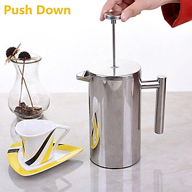 French Coffee Press Maker, Stainless Steel French Press Machine for Coffee Tea Camping Office, SIlver
