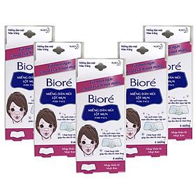 Combo 5 Hộp Miếng Dán Mũi Lột Mụn Thu Nhỏ Lỗ Chân Lông Biore Pore Pack dành cho nữ (1 hộp 4 miếng x 5)
