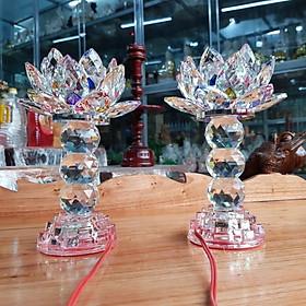 Cặp đèn thờ đá pha lê tự động đổi màu  cao 22 cm