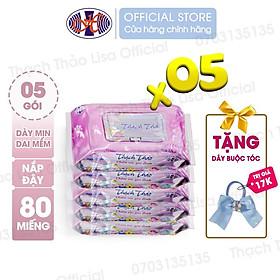 COMBO 5 GÓI- Khăn ướt Thạch Thảo Lisa hộp 80 tờ có nắp – An toàn cho da nhạy cảm