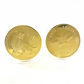 Xu con Cọp 1 Yi Trung Quốc Vàng, Trưng bày trong nhà, trên bàn sách, bàn làm việc, làm quà tặng độc lạ ý nghĩa, Kích thước 4cm, Màu vàng - TMT Collection - SP005324