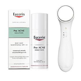 Kem dưỡng giúp giảm mụn, dưỡng trắng da Eucerin ProAcne Day Mat Whitening SPF30 50ml + Tặng máy massage mặt ion