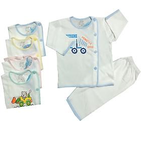 Combo 3 bộ quần áo tay dài cài lệch trắng JOU-TDCL-TRANG cho bé sơ sinh, chất vải 100% cotton mềm mịn