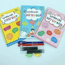 Bộ 3 sách luyện các nét cơ bản, viết chữ số đẹp Thanh Nga (tặng kèm 2 bút ,8 ngòi bút tự bay màu mực) cho bé