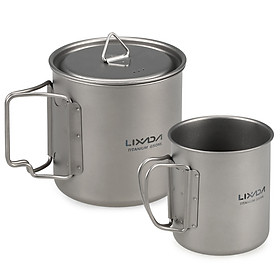 Lixada Ultralight Titanium Cup Outdoor Portable 2PCS Cup Set 550ml 350ml Camping Picnic Water Cup Mug with Foldable