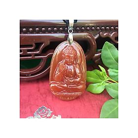 Hình đại diện sản phẩm Mặt dây chuyền Phật bản mệnh cho Nam, nữ tuổi Hợi, Mệnh Hỏa, Đá Mã não đỏ, Phật A Di Đà, Cỡ to, AKO6