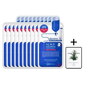 Hộp 10 Mặt nạ cấp nước dưỡng ẩm cho da khô Mediheal N.M.F Aquaring Ampoule Mask Ex 25ml x10 + Tặng 1 gói sữa rửa mặt thải độc Super Vegitoks Cleanser 3ml
