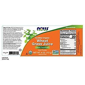 Bột Nước Ép Cỏ Lúa Mì Hữu Cơ Now Wheat Grass Juice Powder None-GMO (4-Ounce)