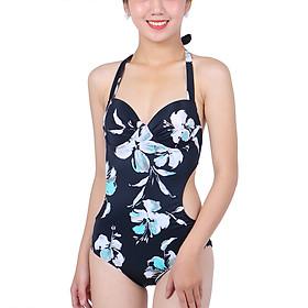 Bikini 1 Mảnh Monica Họa Tiết Hoa BIT 3001 - Trắng Đen (Free Size)
