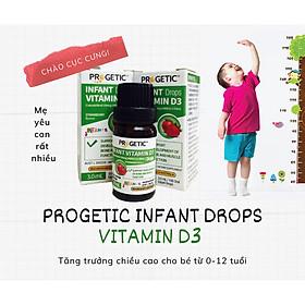 Vitamin D3 của PROGETIC ÚC bổ sung vitamin d3 nguyên chất hỗ trợ phát triển hệ sương, răng cho bé 0-12 tuổi