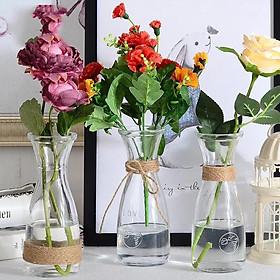 Lọ thủy tinh LOVE thắt eo 350ML cắm hoa trang trí cực xinh(tặng kèm dây 2 met)