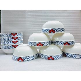 Bộ chén sứ trắng viền hoạ tiết hoa mai cao cấp ( 10 cái)