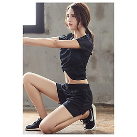 Bộ Đò Tập Thể Thao, Gym, Yoga, Aerobic Nữ, Áo Thun Phối Lưới Thoáng Mát, Quần Đùi 2 Lớp