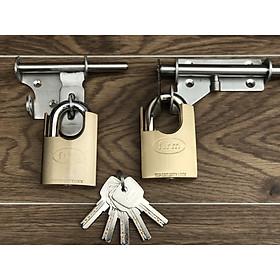 Bộ 2 ổ khóa đồng chống cắt dùng chung 1 chìa chất lượng cao