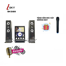 (Tặng kèm Micro hát không dây) Dàn âm thanh giải trí đỉnh cao tại nhà, vi tính lớn hát karaoke âm thanh đỉnh cao có kết nối Bluetooth USB Isky - SK328-Hàng nhập khẩu