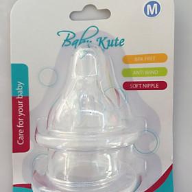 Bộ 2 núm ti cổ rộng bằng Silicone an toàn siêu mềm Baby Kute size M nhập khẩu từ Thái Lan