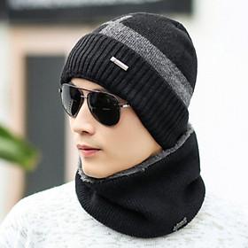 Bộ mũ len kèm khăn phong cách Hàn, sét nón len nam 2 trong cao cấp