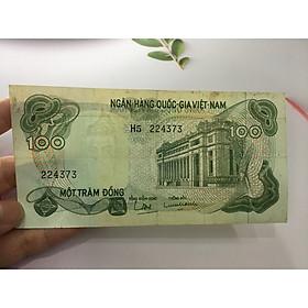 100 đồng hoa văn xanh lá [TIỀN ĐẸP NHƯ HÌNH] sưu tầm tiền cổ, tặng phơi nylon bảo vệ tiền