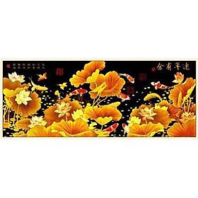 Tranh thêu chữ thập thêu kín Cửu Ngư Quần Hội- Kim Sắc Hoa Sen (165*72cm) chưa thêu