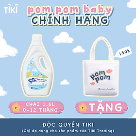 Nước Giặt Xả Pom Pom chuyên biệt dành cho bé sơ sinh (0-12 tháng) - Chai 1,6L