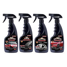 Bộ 4 sản phẩm chăm sóc ngoại thất ô tô FOCAR (Vệ sinh kính + Bóng lốp + bóng sơn + Tẩy vành mâm) - Tặng khăn lau Microfiber