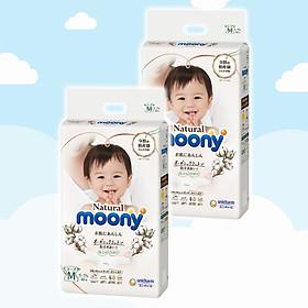 Combo 2 Bỉm - Tã dán Moony Natural size M 46 miếng (Cho bé 6 - 11kg)