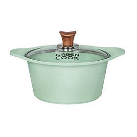Nồi Đúc Ceramic Chống Dính Green-Cook GCS05-24IH Size 24cm Vân Đá Đáy Từ Nắp Kính Cường Lực Dùng Trên Mọi Loại Bếp-Hàng Chính Hãng