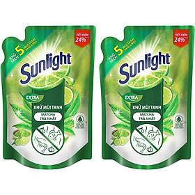 Combo 2 Nước Rửa Chén Sunlight Khử mùi tanh Matcha Trà Nhật (2.1kg x 2)