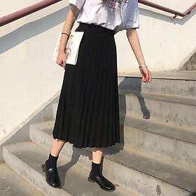 chân váy xếp ly dáng dài trẻ trung dễ mặc