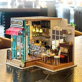 Đồ chơi lắp ráp gỗ 3D Mô hình DIY Doll House Simon's Coffee kèm đèn LED