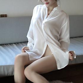 Váy Ngủ Vải Voan Xuyên Thấu, Váy Sơ Mi Ngủ Giấu Quần Mềm Mại Sexy - ZVN5015