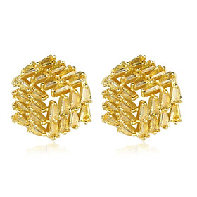 Bông tai khuyên tai bạc S925 đá Cz vàng