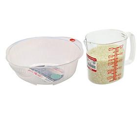 Combo giá vo gạo 22cm + ca đong chia vạch 500ml nội địa Nhật Bản