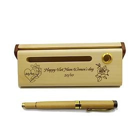 Bộ bút gỗ cao cấp tặng phụ nữ_mẫu 03 (Kèm hộp đựng sang trọng)